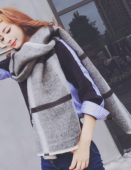 Fashion Gray Stripe Pattern Decorated Thicken Dual Use Scarf