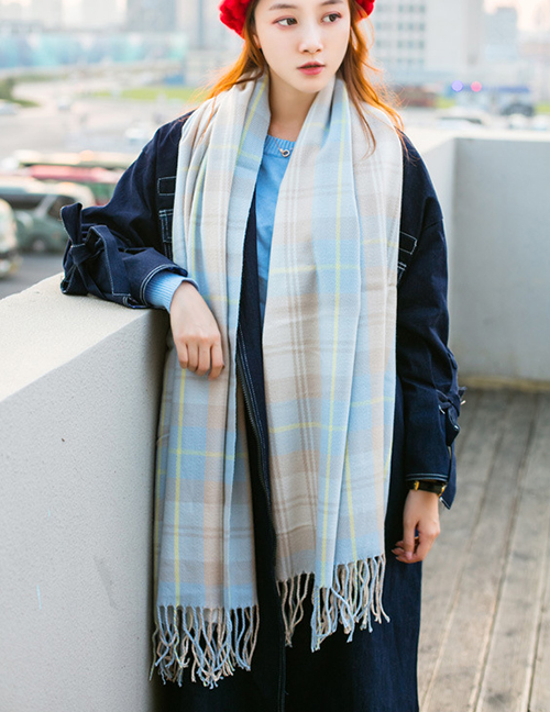 Fashion Light Blue Grid Pattern Decorated Thicken Dual Use Scarf