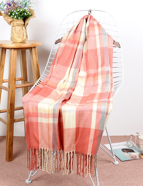 Fashion Orange+beige Grid Pattern Decorated Thicken Dual Use Scarf