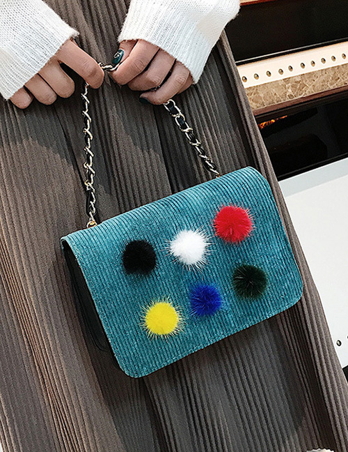 Trendy Green Fuzzy Ball Decorated Shoulder Bag