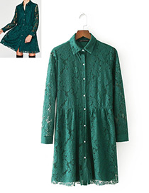 Fashion Green Pure Color Decorated Long Sleevs Dress