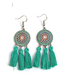 Bohemia Green Color-matching Decorated Tassel Earrings
