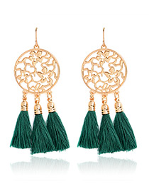 Bohemia Green Hollow Out Decorated Tassel Earrings