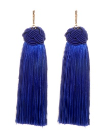 Fashion Sapphire Blue Pure Color Decorated Long Earrings