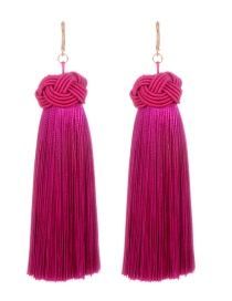 Fashion Purple Pure Color Decorated Long Earrings