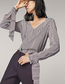 Fashion Red+white Stripe Pattern Decorated Long Sleeves Shirt
