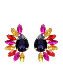 Fashion Multi-color Oval Shape Diamond Decorated Earrings
