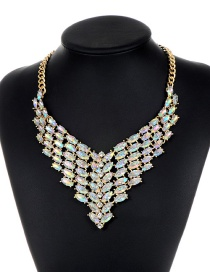 Elegant Multi-color Oval Shape Diamond Decorated Necklace