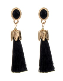 Bohemia Black Oval Shape Decorated Tassel Earrings