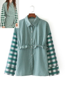 Fashion Green Grid Pattern Decorated Simple Blouse