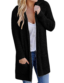 Fashion Black Pure Color Decorated Knitting Cardigan