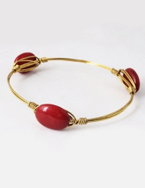 Vintage Red Oval Shape Decorated Bracelet