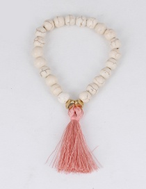 Elegant White+pink Tassel Decorated Bracelet
