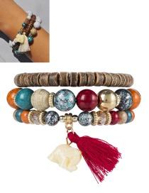 Bohemia Red Elephant&tassel Decorated Multilayer Bracelet