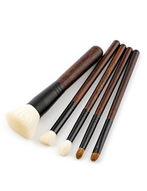Fashion Brown Color-maching Decorated Brushes (5pcs)