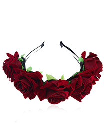 Elegant Red Flower Shape Decorated Hair Clip