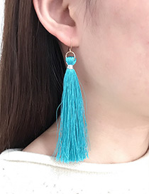 Bohemia Blue Pure Color Decorated Earrings