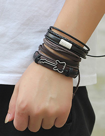 Personality Coffee+black Guitar Shape Decorated Multilayer Bracelet