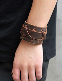 Personality Brown Pure Color Decorated Bracelet