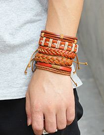 Personality Brown Pure Color Decorated Multilayer Braceles