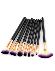 Fashion Black Color-matching Decorated Brushes (8pcs)