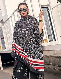 Fashion Black Square Shape Decorated Scarf