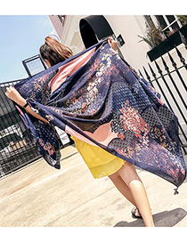 Fashion Navy Flower Shape Decorated Scarf