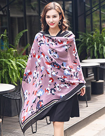 Bohemia Pink Flower Shape Decorated Scarf