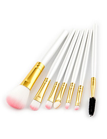 Fashion Pink+white Color-matching Decorated Brushes (7pcs)