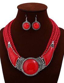Exaggerated Red Hand-woven Design Short Chain Jewelry Sets