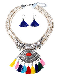Exaggerated Multi-color Tassel Decorated Jewelry Sets
