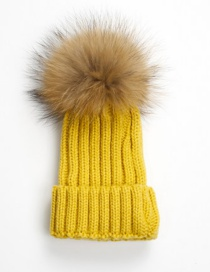 Lovely Yellow Fuzzy Ball Decorated Children Hat (2-10 Age )