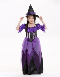 Fashion Purple Witch Decorated Costume