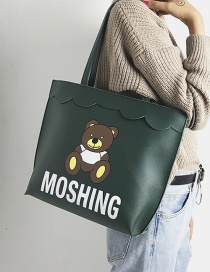 Lovely Green Bear Shape Decorated Bag