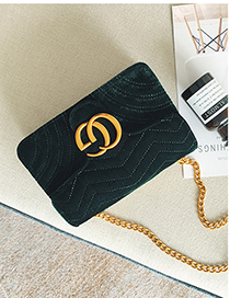 Fashion Green Double G Shape Decorated Bag