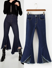 Fashion Dark Blue Pure Color Decorated Bell-bottoms