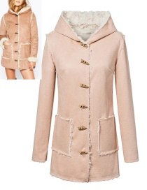 Fashion Pink Horn Button Decorated Coat