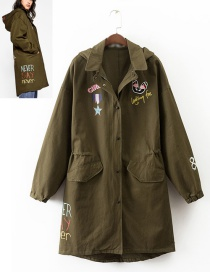 Fashion Army Green Butterfly Shape Decorated Long Coat