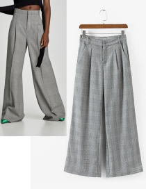 Elegant Gray Pure Color Decorated Ultra-wide-leg Trousers