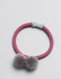 Cute Gray Fuzzy Ball Decorated Hair Band