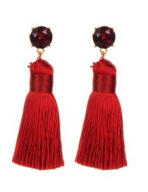 Bohemia Red Round Shape Decorated Tassel Earrings