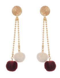 Elegant Claret-red Fuzzy Ball Decorated Earrings