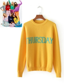 Retro Yellow Letter Shape Decorated Sweater