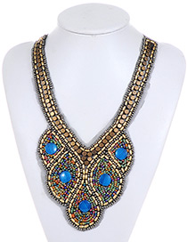 Bohemia Blue Round Shape Decorated Necklace