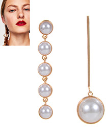 Elegant White Rouns Shape Decorated Earrings