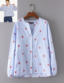 Fashion Blue Embroidery Flower Shape Decorated Blouse