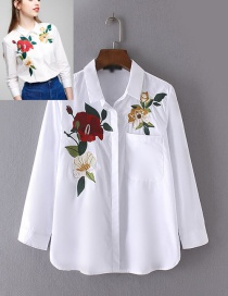 Fashion White Embroidery Flower Shape Decorated Long Shirt Reviews
