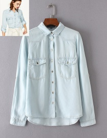 Fashion Light Blue Pure Color Decorated Shirt