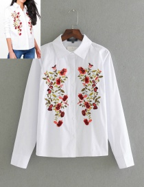 Fashion White Embroidery Flower Shape Decorated Shirt