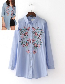 Fashion Blue Embroidery Flower Shape Decorated Shirt